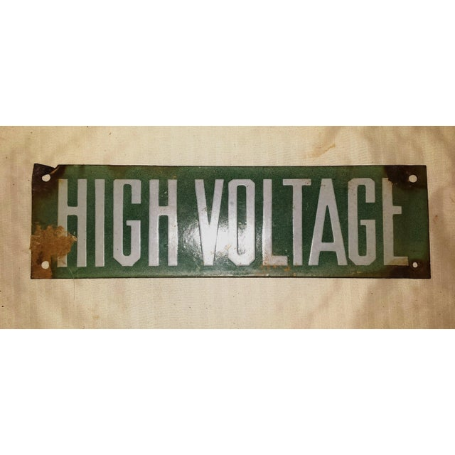 Vintage Green Porcelain High Voltage Sign - Image 2 of 6
