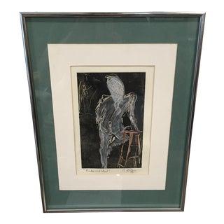 Vintage Nude & Stool Framed Etching