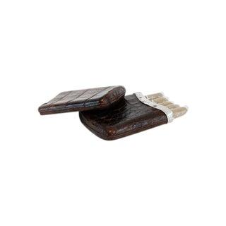 1886 Sterling Silver Crocodile Skin Cigar Case
