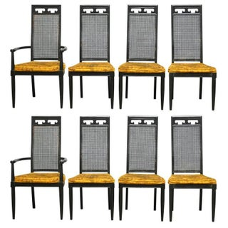 Asian Style Cane Black Lacquer Dining Chairs - Set of 8