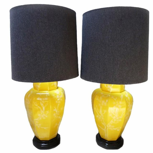 Chinoiserie Yellow Table Lamps - A Pair - Image 1 of 4