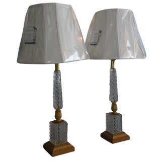 Rare French Elite Cristal Et Bronze Lamps - Pair