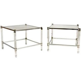 Pair of Karl Springer Lucite Tables