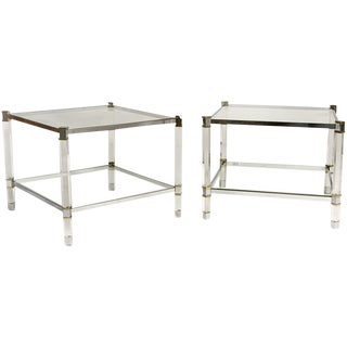 Pair of Karl Springer Lucite Tables