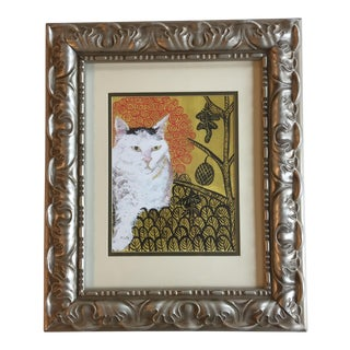 White Cat Print After Painting by Judy Henn