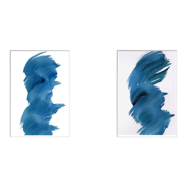 """""""Blue Fever"""" Modern Abstract Watercolor Matted Paintings - a Pair - Image 1 of 4"""