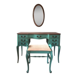 Vintage Teal Vanity Desk With Chair and Mirror - Set of 3