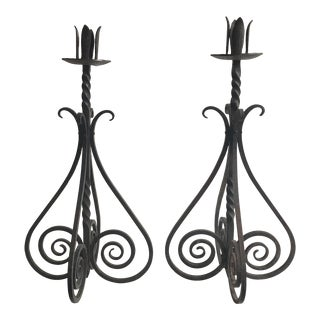 Vintage Spiral Motif Iron Candleholders - A Pair