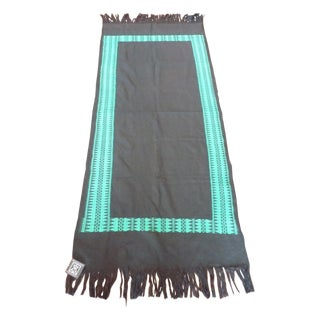 Woven Black & Teal Fringed Table Runner