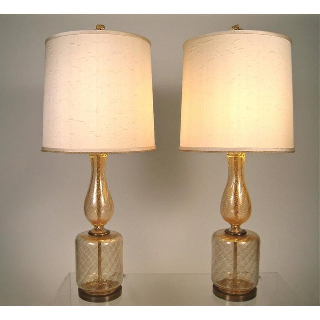 Large Elegant Pair of Venetian Gold and Clear Blown Glass Lamps - Image 1 of 7