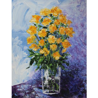 Yellow Roses Impressionist Painting by C. Plowden