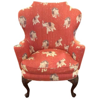 Queen Anne Vintage Elephant Motif Wingback Chair