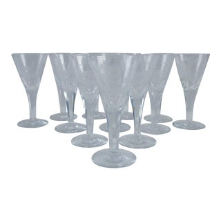 Etched Wildlife Sherry Glasses - Set of 12