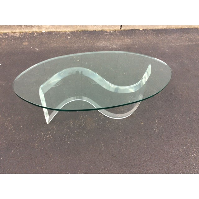 1970s Modern Serpentine Lucite Coffee Table - Image 3 of 8