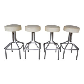 Mid-Century Lions Brand Bar Stools - Set of 4