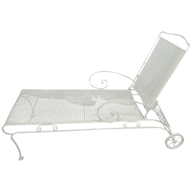 Image of Russell Woodard Iron Mesh Steel Outdoor Chaise Lounge