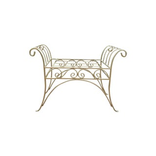 Metal French Art Deco Scroll Bench in Gold Tone