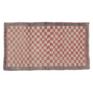 "Vintage Checkered Tulu Runner Rug - 2'3"" x 3'10"""