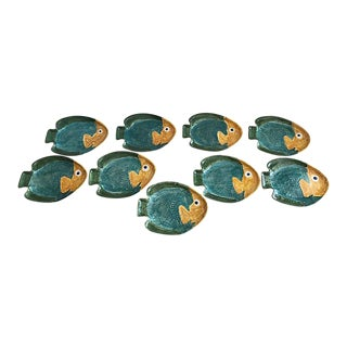 Handmade Fish Plates - Set of 9