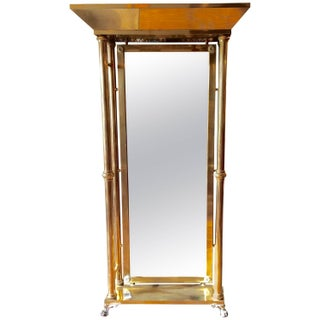 Super Tall Neoclassical Style Brass Pier Mirror