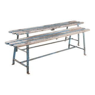 Pair of French Vintage Painted Benches with Iron Base, 1950s