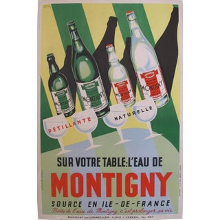 1940s French Art Deco Montigny Bottled Water Poster