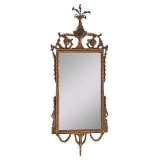 Antique Carved Wood Frame Gold Leaf Mirror
