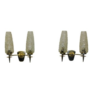 Circa 1960s French Art Deco Vintage Maison Lunel Sconces - a Pair