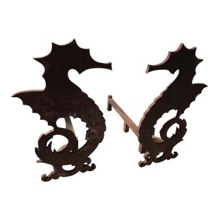 Wrought Iron Seahorse Andirons - A Pair