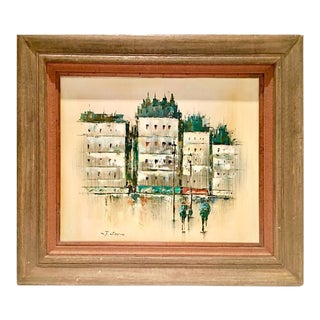 Mid-Century Original Oil Painting of Paris