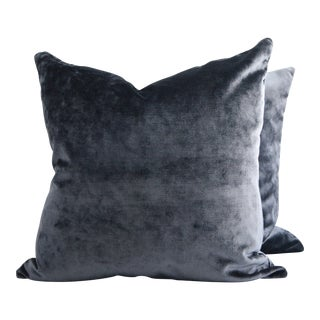 Italian Dark Blue Solid Velvet Pillows - A Pair