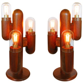 Postmodern Wood Cactus Lamps - Pair