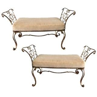 Jean Charles Moreux Gilt Iron Mohair Cushion Benches - a Pair