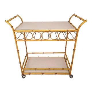 Mid-Century Modern Maison Baguès Style Two-Tier Iron Faux Bamboo Bar Cart