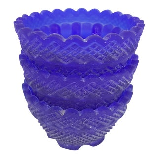 Satin Glass Cobalt Votive Holders - Set of 3