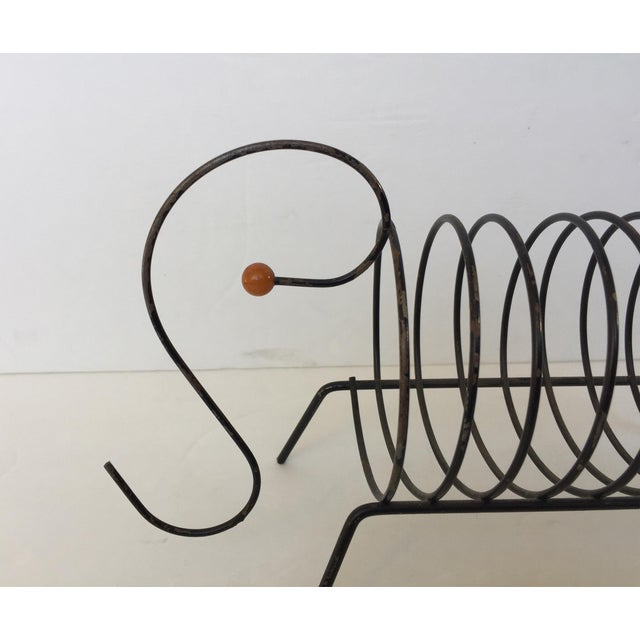 Image of Vintage Mid-Century Black Metal Wire Mail Holder