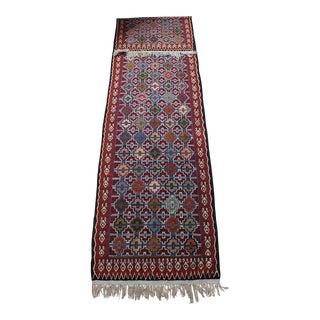 Vintage Turkish Kilim Flatweave Runner Rug- 2′6″ × 10′