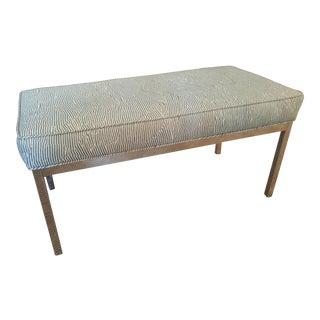 Striped Upholstered Chrome Bench