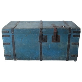 Antique Blue Italian Steamer Trunk With Keys