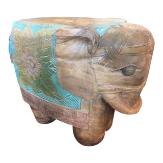 Antique Thai Wood Handpainted Elephant Stool