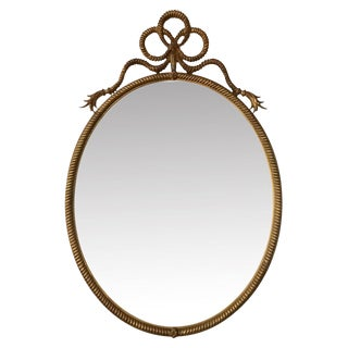 20th Century French Giltwood Carved Rope Mirror