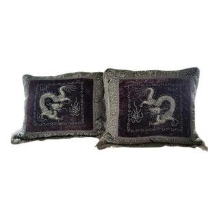 Vintage Custom Made Dragon Pillows - A Pair