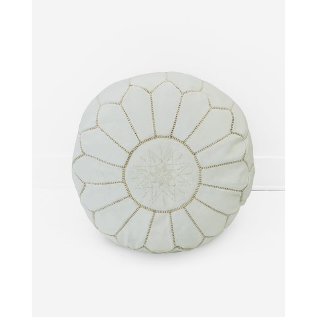 Image of White Moroccan Leather Ottoman Poufs