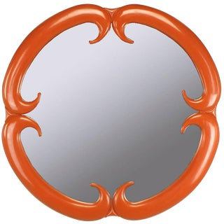 Baker Furniture Cinnabar Red Quatrefoil Mirror