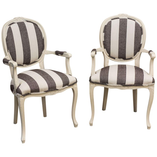 Image of Charcoal & Cream Round Back Chairs - A Pair