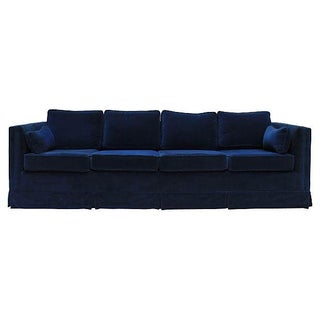 Blue Velvet Four Seat Sofa