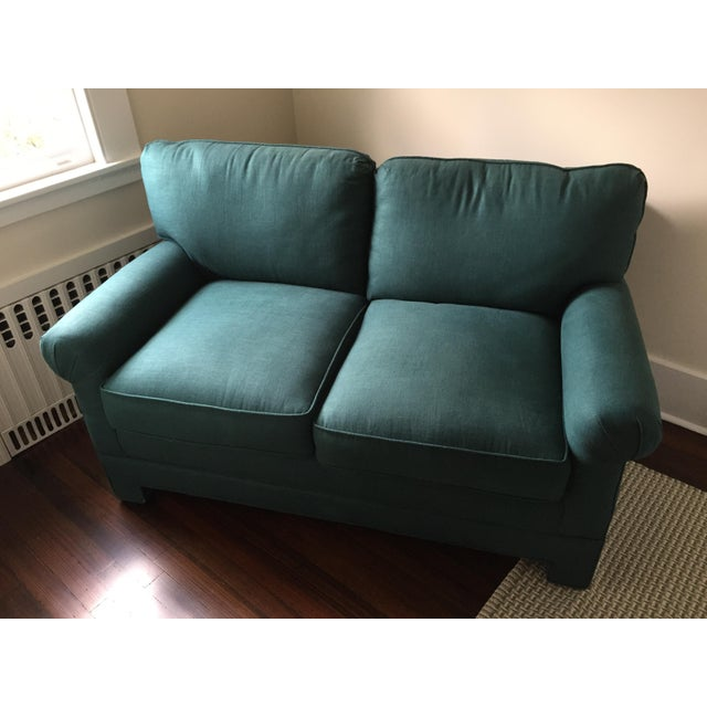 Rolled Arm Forest Green Linen Loveseat - Image 3 of 7