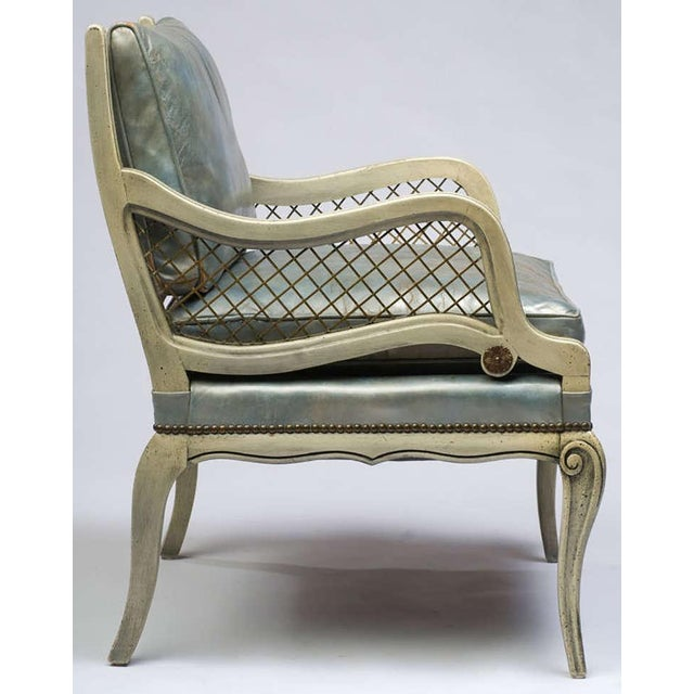 Pair of 1940s Carved and Lacquered Lounge Chairs with Blue Leather Upholstery - Image 4 of 7
