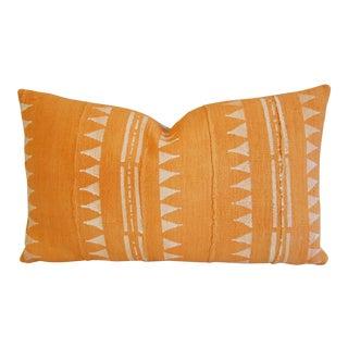 Tangerine Mali Mud Cloth Lumbar Pillow