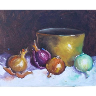 Original Unsigned Oil Painting of Onions